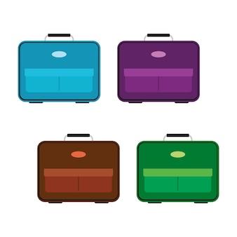 Set van vier veelkleurige tas op witte achtergrond. koffer voor reisreis in vlakke stijl. vector illustratie