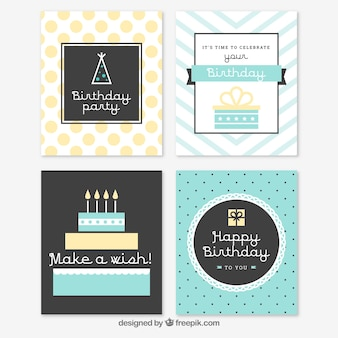 Set van vier verjaardagskaarten in vintage stijl