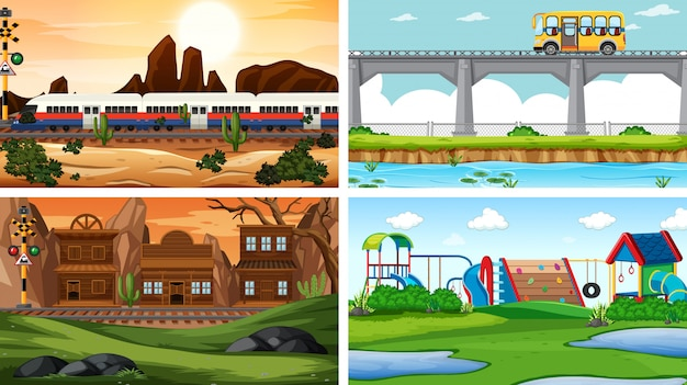 Set van vier verschillende scèneachtergrond