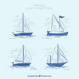Set van vier vintage boten