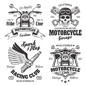 Set van vier vintage motorfietsen emblemen