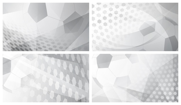 Set van vier voetbal of voetbal abstracte achtergronden met grote bal in grijze kleuren