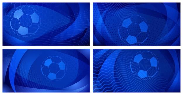 Set van vier voetbal- of voetbalachtergronden met grote bal in blauwe kleuren