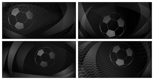 Set van vier voetbal- of voetbalachtergronden met grote bal in zwarte en grijze kleuren