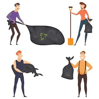 Set van vier vrijwilligers samenstelling met jonge vrijwilligers in het schoonmaken