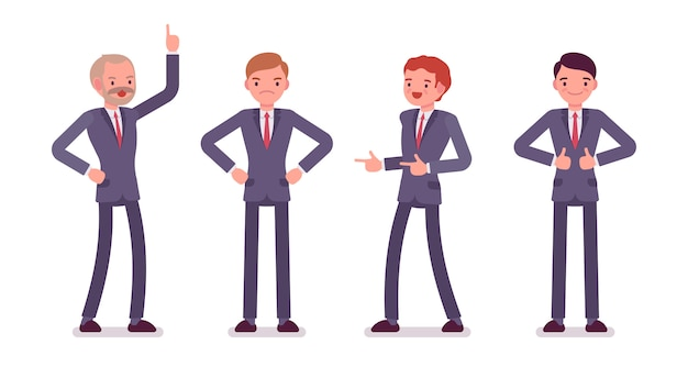 Set van vier zakelijke mannelijke personages