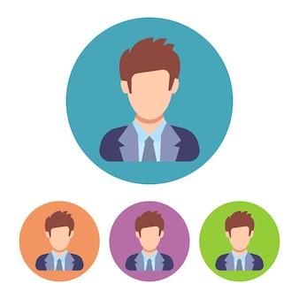 Set van vier zakenman pictogrammen op kleurrijke cirkel. mensen icoon in platte stijl. vector illustratie