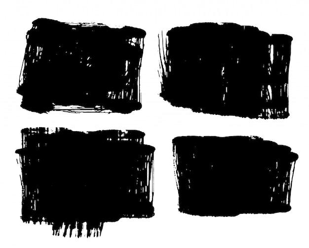 Set van vier zwarte grunge noodlijdende vuile stijl