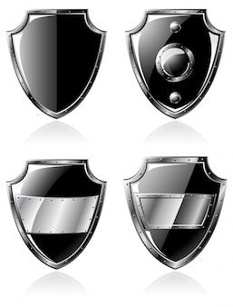 Set van vier zwarte stalen schilden