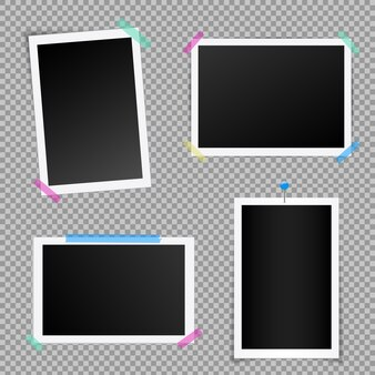 Set van vierkante fotolijst met schaduwen.