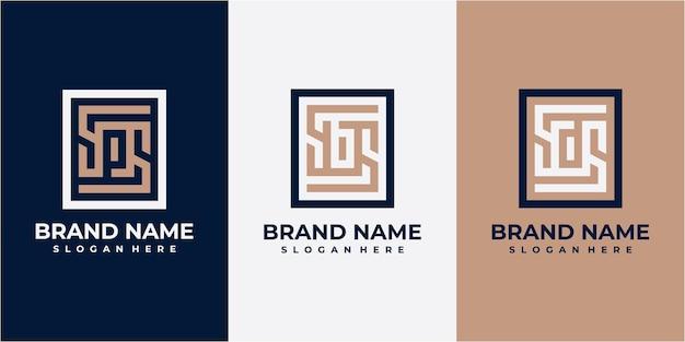 Set van vierkante letter logo ontwerp. ps-logo. sb-logo. sd-logo. logo-ontwerp met vierkante lijn