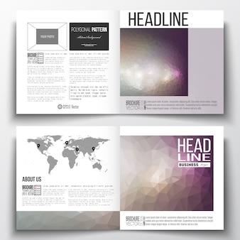 Set van vierkante ontwerpsjabloon brochure