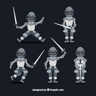 Set van vijf armor ridders in plat ontwerp