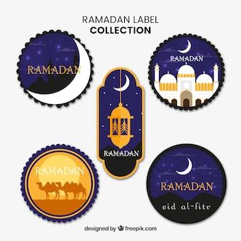 Set van vijf elegante ramadan-labels
