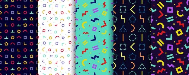Set van vijf memphis naadloze patronen. geometrisch behang