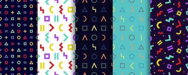 Set van vijf memphis naadloze patronen