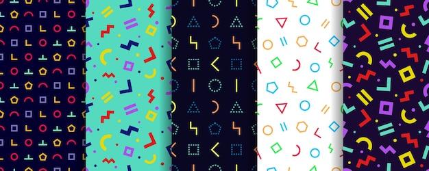 Set van vijf memphis naadloze patronen.