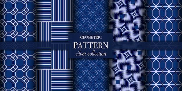 Set van vijf zilveren luxe geometrische lijnpatroon