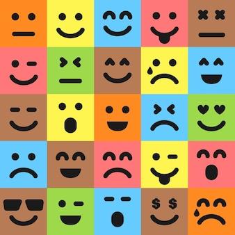 Set van vijfentwintig kleurrijke emoticons. emoji-pictogram in het vierkant. platte achtergrondpatroon. vector illustratie