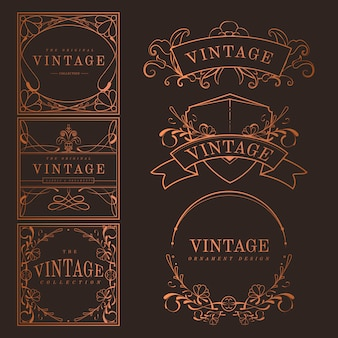 Set van vintage bronzen art nouveau badges vector