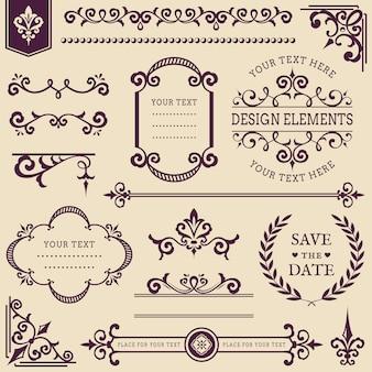 Set van vintage designelementen.