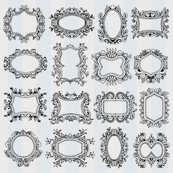 Set van vintage frames. retro decoratieve randen