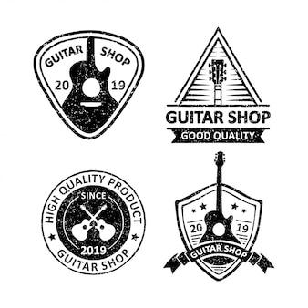 Set van vintage gitaar winkel badges