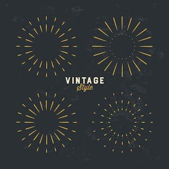 Set van vintage gouden sunburst ontwerpelement