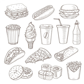 Set van vintage hand getrokken fastfood pictogrammen.