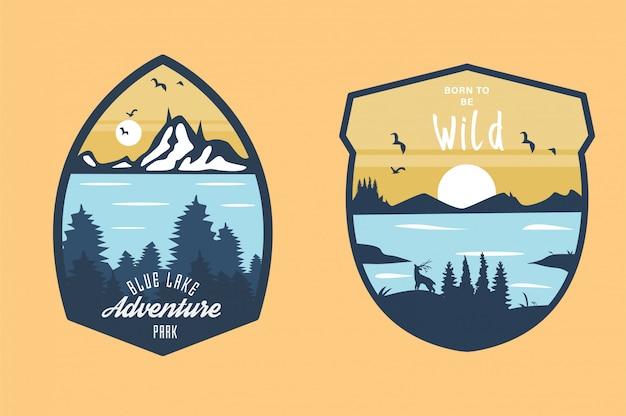 Set van vintage hand getrokken reizen badges
