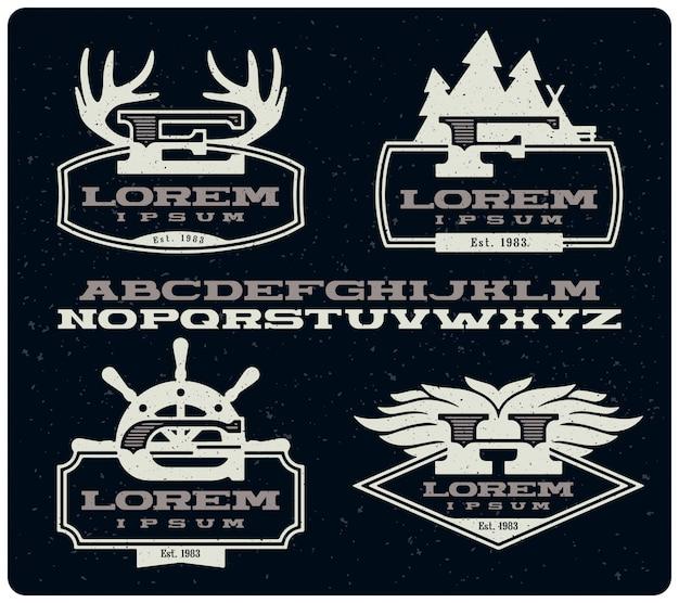 Set van vintage insignes badges met lettertype