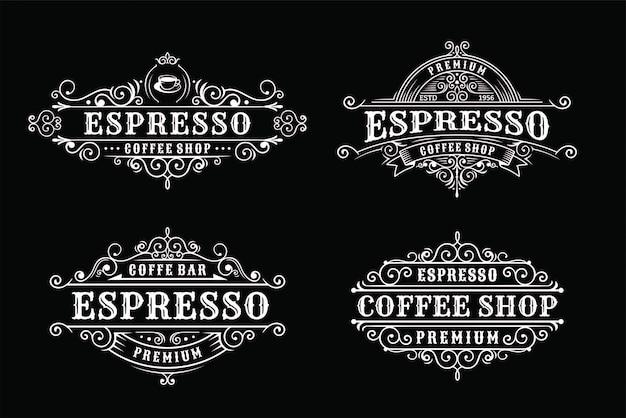 Set van vintage koffie labelontwerp, kalligrafie en typografie elementen stijl ontwerp