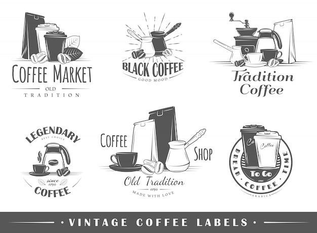 Set van vintage koffie logo's