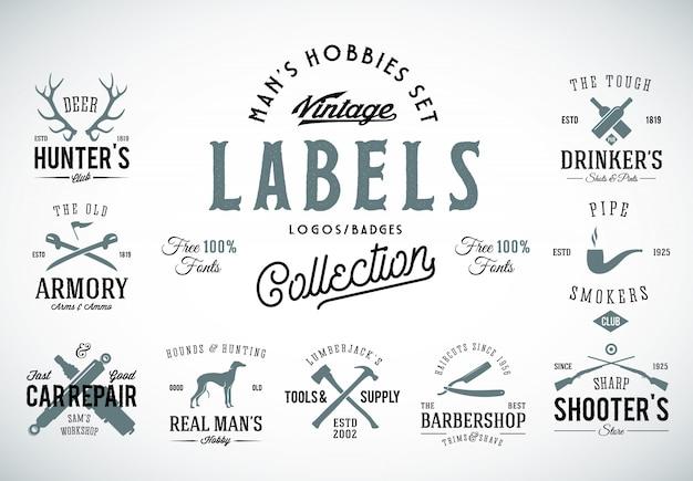 Set van vintage pictogrammen, etiketten of logo-sjablonen met retro typografie voor herenhobby's zoals jagen, wapens, hondenfokkerij, autoreparatie, enz.