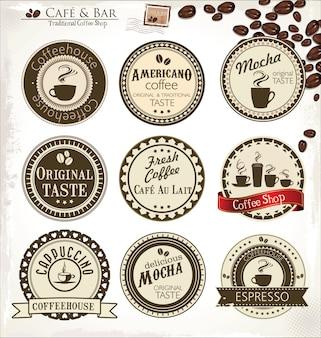 Set van vintage retro koffie etiketten
