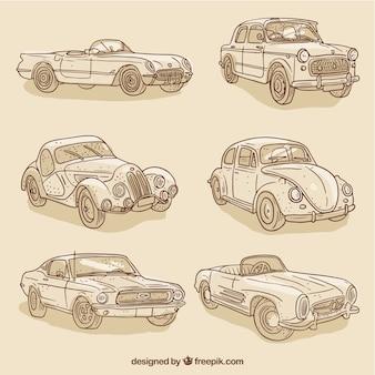 Set van vintage schetst stijlvolle auto's