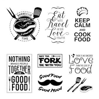 Set van vintage voedsel gerelateerde typografische citaten