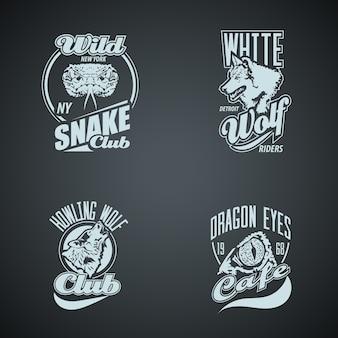 Set van vintage wilde dieren retro logo's. gekleurde