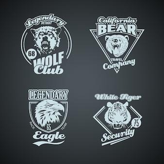 Set van vintage wilde dieren retro logo's.