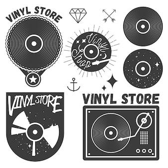 Set van vinyl disc en speler