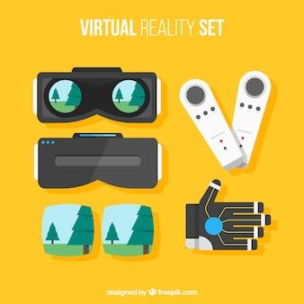 Set van virtual reality vlakke elementen