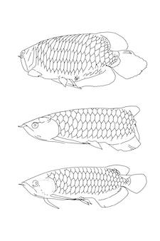 Set van vis lineaire schets doodle