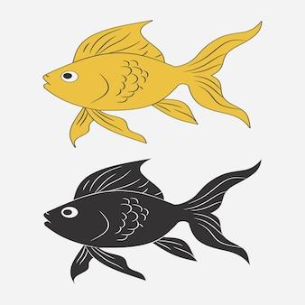 Set van vis pictogram. goudvis. vector illustratie.