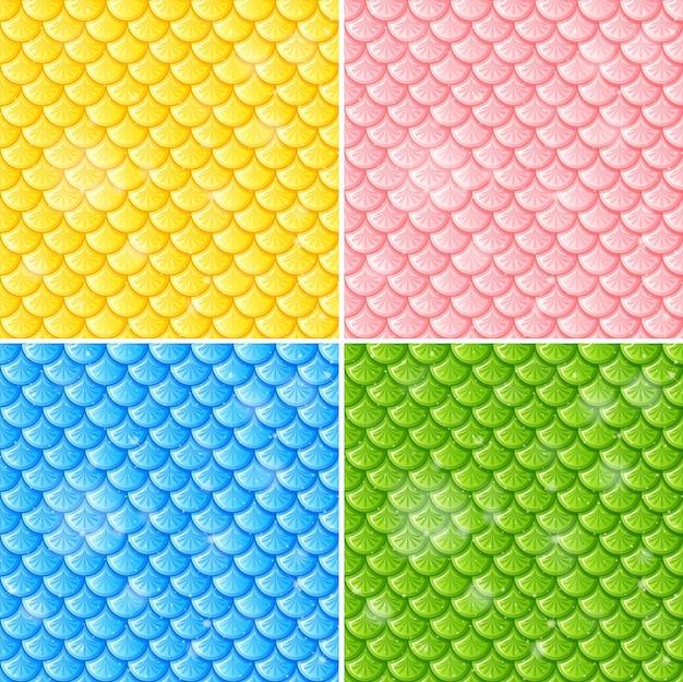 Set van vis schaal naadloze patroon achtergrond