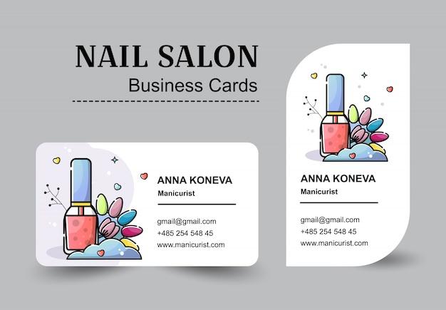 Set van visitekaartjes voor nagel salon