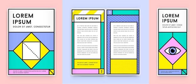 Set van visuele identiteit in trendy nieuwe dikke lijnstijl geometrisch ontwerp in retrostijl met frisse oude schoolkleuren met fictieve namen en tekst