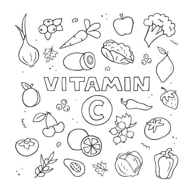 Set van vitamine c-bronnen. hand getekende illustratie. doodle natuurvoeding. zwart-wit overzicht.