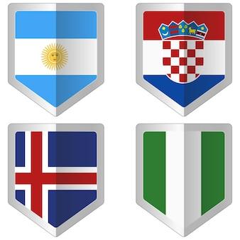 Set van vlaggen voor wk voetbal