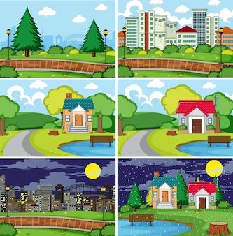 Set van vlakke scène illustratie