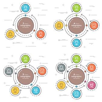 Set van vlakke stijl 3-6 stappen cirkel infographic sjabloon.